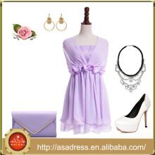 BD111 nueva moda barato niña regreso a casa vestidos de lila convertible vestido de dama de honor corto