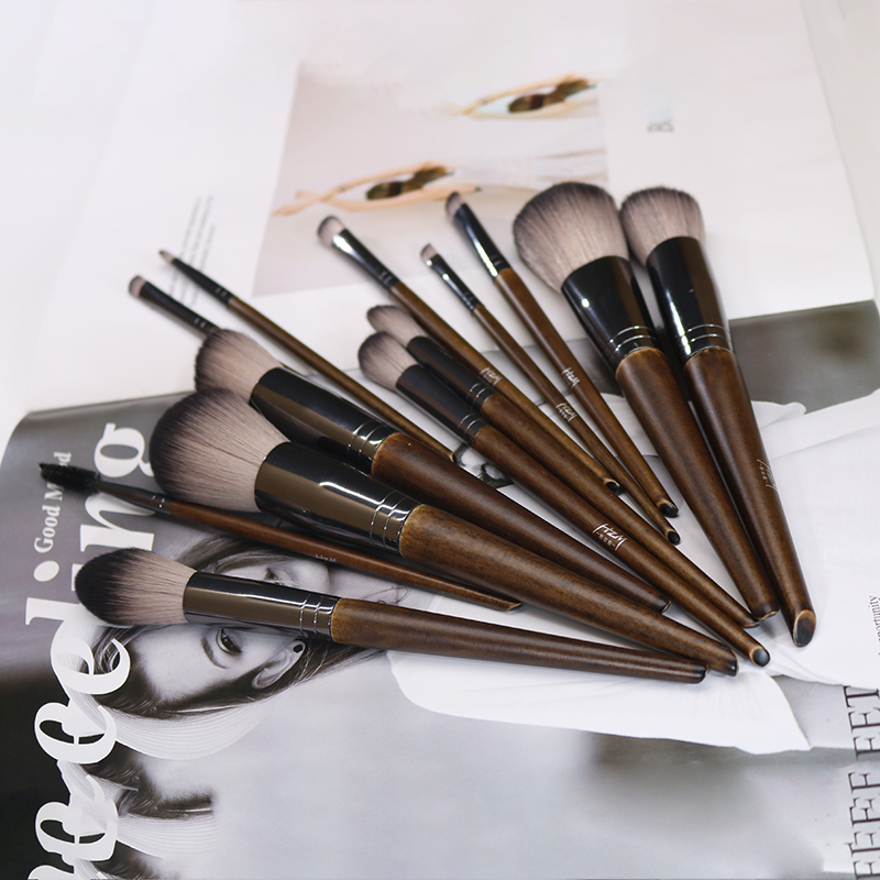Wood color makeup brushes