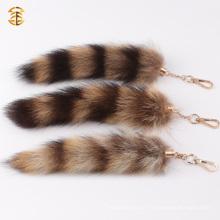 Porte-clés véritable de la fourrure de renard mignon pour le charme de sac