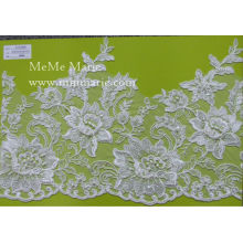 Cotton Guipure Lace Fabric with Rose Embroidery Hem Lace CTC365B