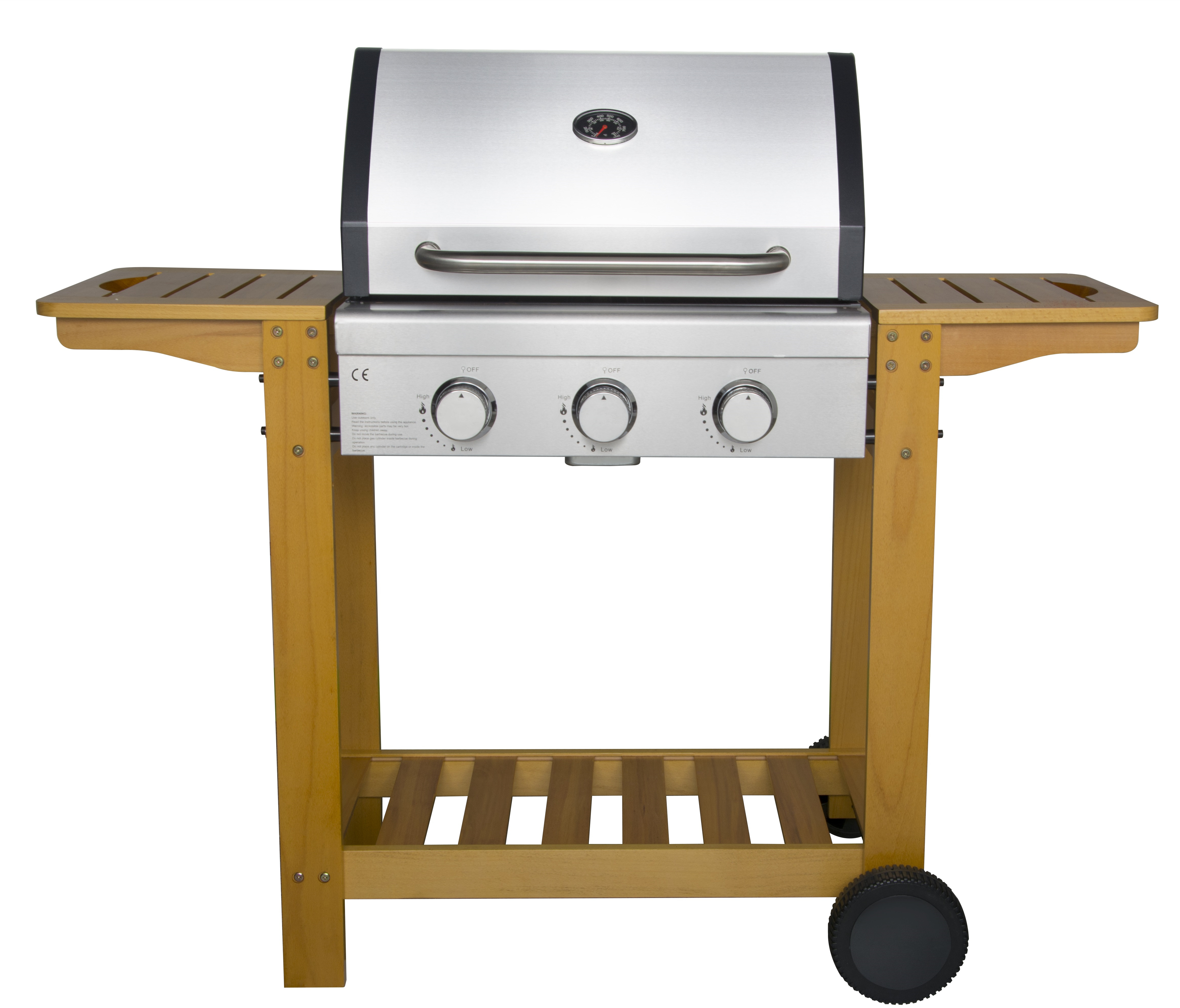 3 Burner Gas Grill with Wooden Trolley