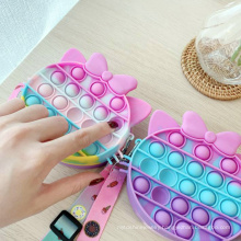 Rainbow Fruit Stress Reliever Shoulder Bag Pineapple Strawberry Sensory Crossbody Wallet Silicone Bubble Cartoon Fidget Toy
