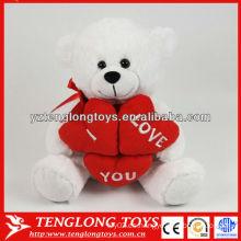 Corazón calentado valentines día regalo peluche oso juguete relleno peluche oso blanco juguete teniendo un corazón