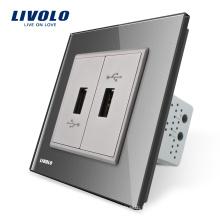 Panneau de verre Livolo gris, prise murale, double prise USB, prise murale VL-C792U-15