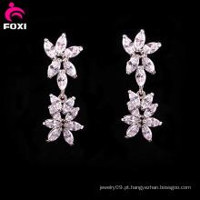 Nova moda flor gemstone noivas brincos