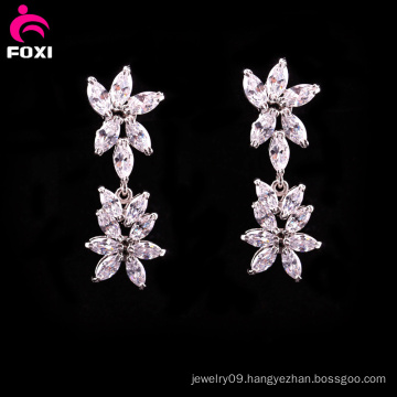 New Fashion Flower Gemstone Bridal Stud Earrings