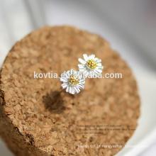 Atacado moda jóias simples e elegante prata esterlina 925 brinco de margarida