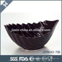 JX-69B Schwarze Farbe Blattform Keramik Schüssel, Welle Form Schüssel, farbige Schüssel
