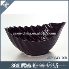 JX-69B Bol de céramique de forme de feuille de couleur noire, bol de forme d'onde, bol coloré
