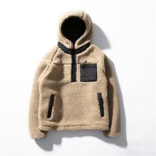 Vente en gros de veste de pull en sherpa pour hommes de la mode sur mesure