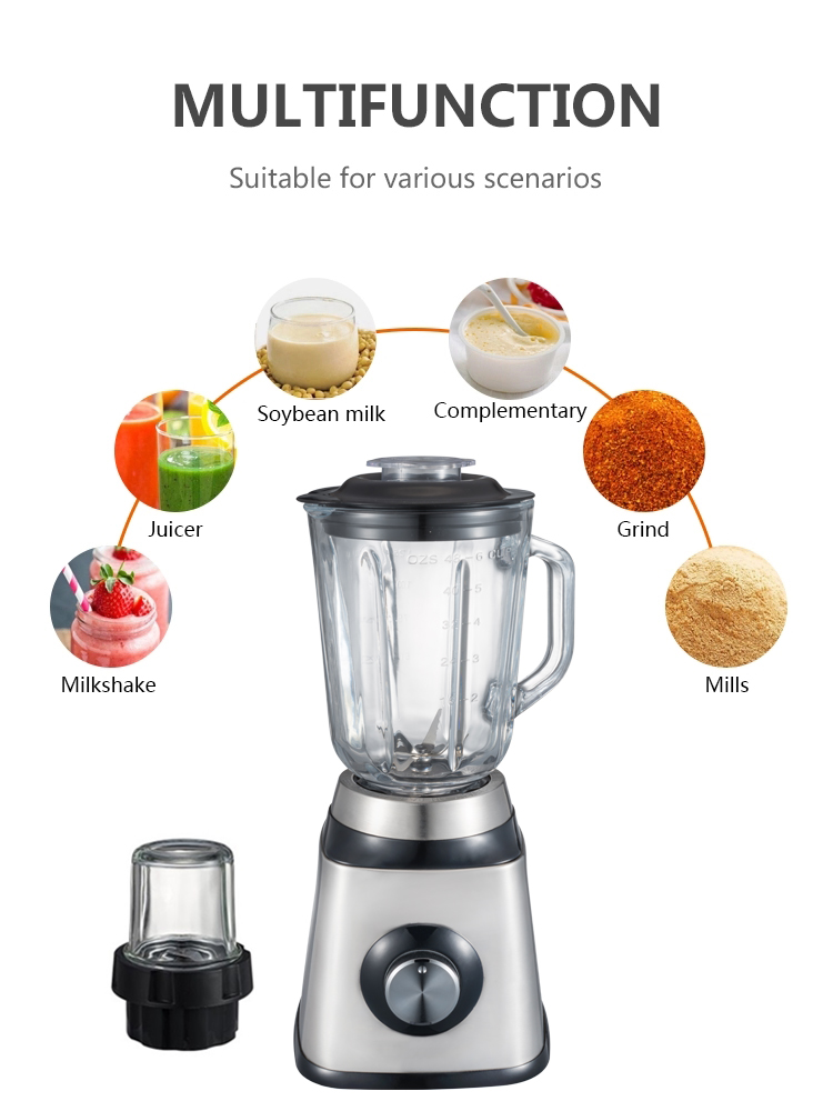 Stainless Steel Food Blender With Glass Bowl