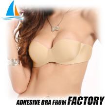 Self adhesive strapless bra nude lingerie