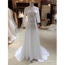 Una línea de gasa vestidos de novia con media mangas