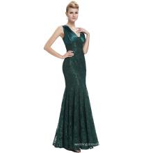Starzz 2016 Sleeveless V-Neck V-Back Dark Green Long Mermaid Lace Formal Evening Dresses From Dubai ST000084-3