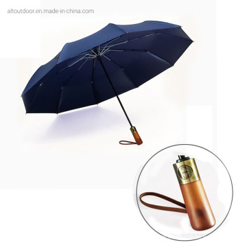Hot Sale Automatic Three Fold Umbrella with Wooden Handle