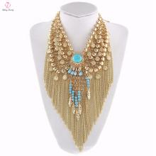Neuestes Blumen-Entwurfs-Goldausstellungsstand personifizierte Halsband-Halskette, Elefant-hängende personifizierte Halsband-Halskette