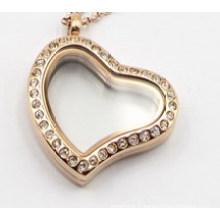 Pendentif médaillon flottant argent / or / or rose en forme de cœur avec cristal