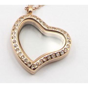 Серебро/золото/розовое золото Стиль сердце с плавающей медальон кулон с Кристалл