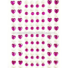 Adhesive Rhinestone Crystal Heart and Pearl Phone Stickers, Multicolor