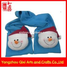 Guantes de chal de invierno Guantes de felpa de animales de peluche y bufanda con cabeza de muñeco de nieve