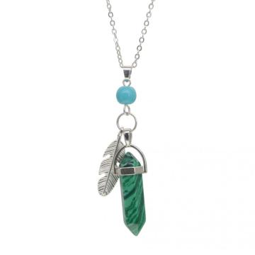 Malachite Feather Hexagonal Prism Pendant Choker Necklace