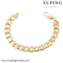 70243 Xuping Nueva pulsera de cadena de mano chapada en oro de lujo