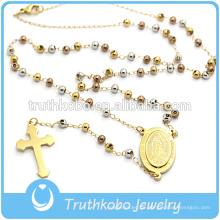 Truthkobo bieten Plating neue Design religiöse Schmuck Edelstahl drei Farben Bead Style Halskette mit religiösen Kreuz