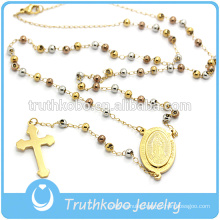 Truthkobo Provide Plating New Design Religious Jewelry Stainless Steel Three Colors Bead Style Necklace With Religious Cross