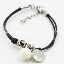 Bijoux en bracelet en cuir en acier inoxydable à la mode avec pendentif