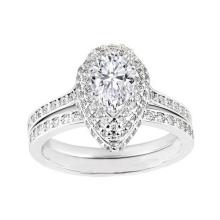 Anillo de compromiso doble de plata del diamante de la pera del halo de la venta al por mayor 925