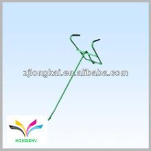 Funcional de alambre de metal verde simple 1 peg pegboard colgando gancho de pantalla