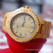 Hlw100 OEM Men′s and Women′s Wooden Watch Bamboo Watch High Quality Wrist Watch