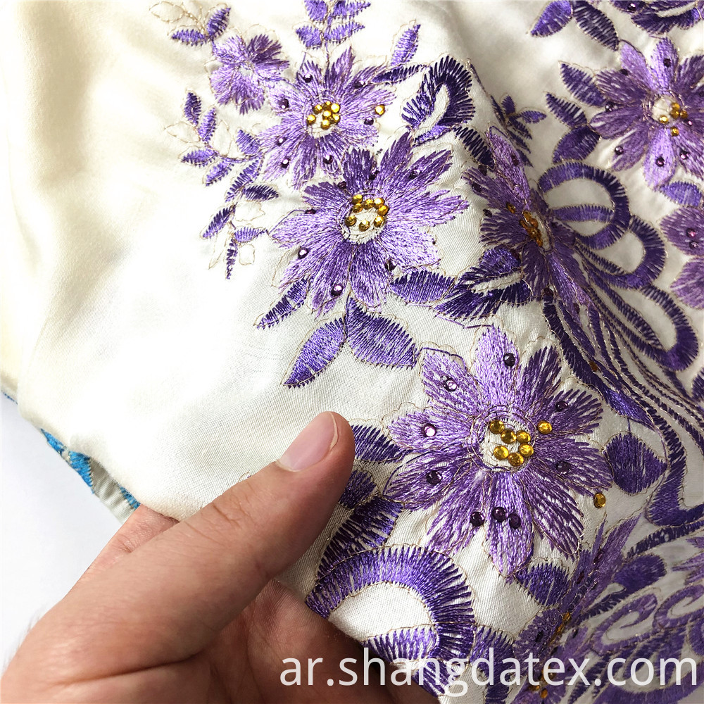 Soft Rayon Satin With Plain Embroidery