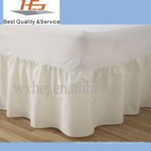 Saia de cama de algodão 100% algodão liso com lençol