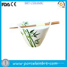 Japanese Bamboo or Sakura Design Porcelain Ramen Bowl