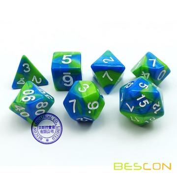Bescon Gemini Polyhedral Dice Set Aquamarine, Two-tone RPG Dice Set of 7 d4 d6 d8 d10 d12 d20 d% Brick Box Pack