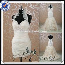 RSW515 Champagne Colored Mermaid Halter Neck Wedding Dress Detachable Skirt