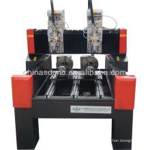 Cylinder stone cnc router with rotary Axis diameter 250mm two heads for carving marble,granite statue