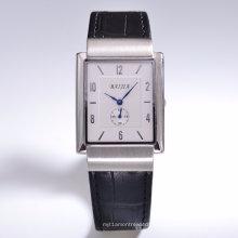 Унисекс Кожаный ремешок высокого класса наручные часы с швейцарским движение