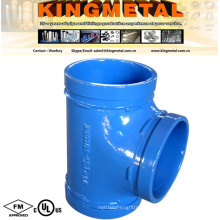 4 Colors 3000 Lbs Ductile Cast Iron Grooved Equal Tee
