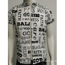Mens cotton voile print slim fit shirt