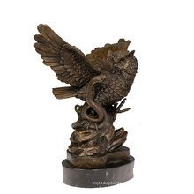 Animal Bronze Sculpture Bird Owl Decoration Brass Statue Tpy-626