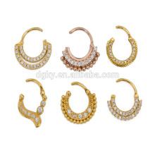 2015 nuevo estilo de acero septum piercing Clicker anillo de oro plantado