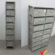 Vintage retro Gery metal armazenamento arquivamento gabinete com roda