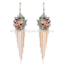 warm color crystal fashion accessories dangle hypoallergenic long earrings jewelry