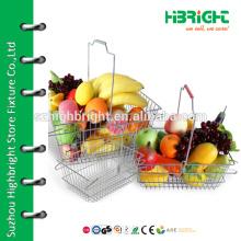 supermarket stainless steel metal wire mesh shopping fruit basket