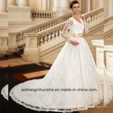 Robes de bal en dentelle à manches longues en dentelle appliques robes de mariée Wd003