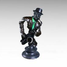 Busts Brass Statue Saxophonist Decoration Bronze Sculpture Tpy-014