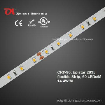 Impermeável alta CRI Epistar 2835 flexível LED Strip
