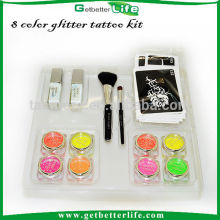 Getbetterlife 8 plantilla del tatuaje de tinta en polvo/2 cepillo cosméticos/2 cuerpo cola/20, niños glitter tattoo kit